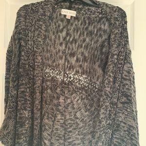 Black/Gray cardigan fringe sweater